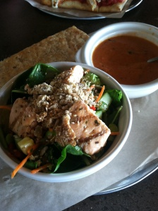 Asian Salmon Salad and Tomato Basil Soup