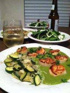 Scallops and Zucchini in Avocado Cream Sauce